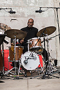 The drummer for the Mingus Big Band at the Naumberg Bandshell at the Jazz and Colors festival.
