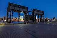 Gantry Plaza State Park, Long Island City, Hunters Point, Queens, NYC, NY, restored gantries