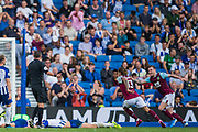 GOAL Jeff Hendrick (Burnley) scores a goal to equalise during the Premier League match between Brighton and Hove Albion and Burnley at the American Express Community Stadium, Brighton and Hove, England on 14 September 2019.