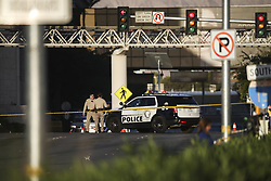 LAS VEGAS, Oct. 4, 2017  Police block a way to the shooting scene in Las Vegas, the United States, Oct. 3, 2017. At least 59 people were killed and 527 others wounded after a gunman opened fire Sunday on a concert in Las Vegas in the U.S. state of Nevada, the deadliest mass shooting in modern U.S. history.  zjy) (Credit Image: © Wang Ying/Xinhua via ZUMA Wire)