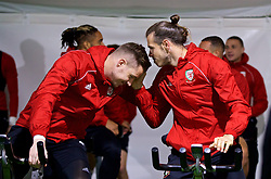 CARDIFF, WALES - Sunday, October 14, 2018: Wales' goalkeeper Wayne Hennessey (L) and Gareth Bale during a training session at the Vale Resort ahead of the UEFA Nations League Group Stage League B Group 4 match between Republic of Ireland and Wales. (Pic by David Rawcliffe/Propaganda)