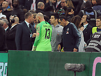 Football - 2019 EFL League Cup Final (Carabao Cup) - Manchester City vs. Chelsea<br /> <br /> Chelsea manager Maurizio Sarri waits with substitute keeper, Willy Caballero who was waiting to come on for, Kepa Arrizabalaga before Kepa refused to come off at Wembley Stadium.<br /> <br /> COLORSPORT/ANDREW COWIE