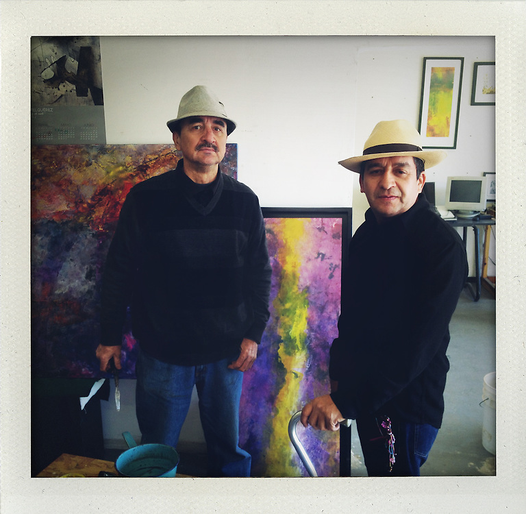 Painter Antonio Ocoa and writer Miguel Angel Chavez Diaz de Leon at Antonio's studio in Ciudad Juarez, Mexico. ..http://www.facebook.com/LaFronteraArtistsAlongTheUsMexicanBorder