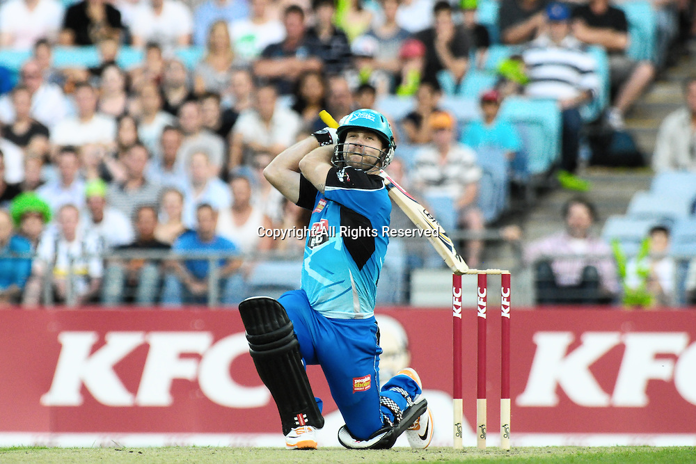 23.12.2011 Sydney, Australia.Adelaide Strikers batsman Aiden Blizzard in action during the KFC T20 Big Bash Cricket League game between Sydney Thunder and Adelaide Strikers at ANZ Stadium Sydney.