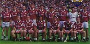All Ireland Senior Hurling Championship Final,.09.09.2001, 9th September 2001,.Minor Cork 2-10, Galway 1-8,.Senior Tipperary 2-18, Galway 2-15,  .09092001AISHCF,.Supermacs, .Galway, Back row from left, Gregory Kennedy, Liam Hodgins captain, Eugene Cloonan, Joe Rabbitte, Mark Kerins, Michael Healy, Cathal Moore, Michael Crimmins, Richie Murray, .Front row from left, Fergal Healy, Ollie Canning, David Tierney, Alan Kerins, Derek Hardiman, Kevin Broderick,