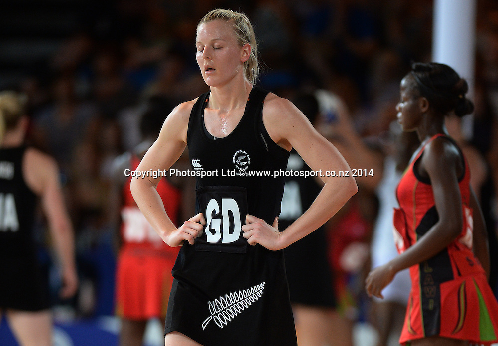 Katrina Grant of the Silver Ferns during a Netball Preliminary Group A match against Malawi.  Glasgow Commonwealth Games. Scottish Exhibition Conference Centre, Glasgow, Scotland. Friday 25 July 2014. Photo: Andrew Cornaga/www.Photosport.co.nz