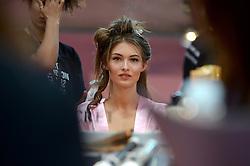 Grace Elizabeth backstage during the Victoria's Secret Fashion Show 2016 held at The Grand Palais, Paris, France