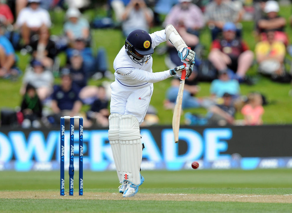 Sri Lanka's Kusal Mendis plays a defensive shot against New Zealand on day two of the first International Cricket Test, University Cricket Oval, Dunedin, New Zealand, Friday, December 11, 2015. Credit:SNPA / Ross Setford