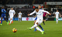 Swansea City's Martin Olsson scores his side's second goal of the game during the Premier League match at the Liberty Stadium, Swansea.