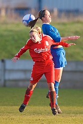 SKELMERSDALE, ENGLAND - Sunday, December 14, 2008: Liverpool's Linda Mathisen in action against Birmingham City during the Women's FA Premier League match at the Ashley Travel Stadium. (Photo by David Rawcliffe/Propaganda)