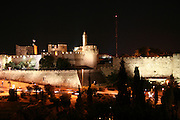 Israel, Jerusalem, The walls around the old city at nigh