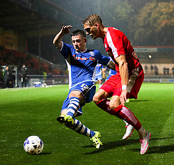 Donal McDermott of Rochdale challenges Dan Jones of Chesterfield  - Mandatory byline: Matt McNulty/JMP - 07966 386802 - 06/10/2015 - FOOTBALL - Spotland Stadium - Rochdale, England - Rochdale v Chesterfield - Johnstones Paint Trophy