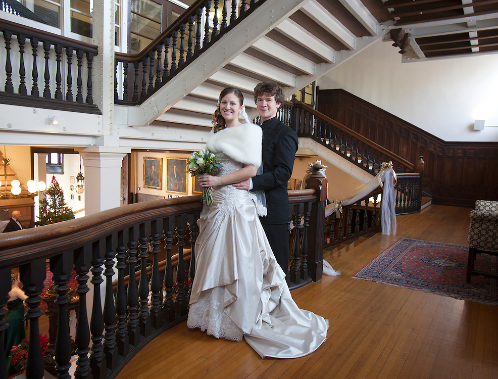 David Brown and Kaitlyn Waterson's on their wedding day at the Baldwin School in Bryn Mawr, Pennsylvania. @ Ed Hille