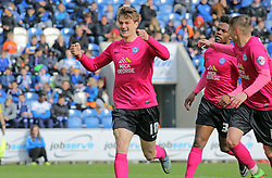 Andrew Fox of Peterborough United celebrates scoring his sides second goal of the game - Mandatory by-line: Joe Dent/JMP - 16/04/2016 - FOOTBALL - Weston Homes Community Stadium - Colchester, England - Colchester United v Peterborough United - Sky Bet League One