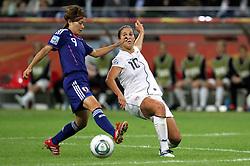 17-07-2011 VOETBAL: FIFA WOMENS WORLDCUP 2011 FINAL JAPAN - USA: FRANKFURT<br /> Nahomi Kawasumi (JPN) gegen Carli Lloyd (USA)  <br /> ***NETHERLANDS ONLY***<br /> ©2011-FRH- NPH/Karina Hessland