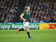 South Africa's Schalk Burger coming back onto the field as a blood replacement during the Rugby World Cup Bronze Final match between South Africa and Argentina at the Queen Elizabeth II Olympic Park, London, United Kingdom on 30 October 2015. Photo by Matthew Redman.