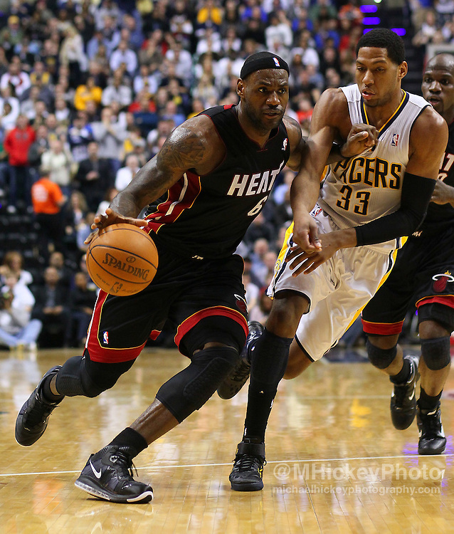 Feb. 15, 2011; Indianapolis, IN, USA; Miami Heat small forward LeBron James (6)  drives to the basket against Indiana Pacers forward Danny Granger (33) at Conseco Fieldhouse. Mandatory credit: Michael Hickey-US PRESSWIRE
