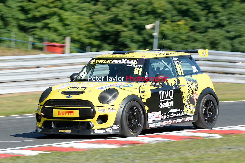 #81 Henry Gilbert Mini F56 during Power Maxed Mini Challenge - F56/JCW - Qualifying  as part of the Mini Festival  at Oulton Park, Little Budworth, Cheshire, United Kingdom. August 08 2015. World Copyright Peter Taylor. Copy of publication required for printed pictures.  Every used picture is fee-liable. http://archive.petertaylor-photographic.co.uk