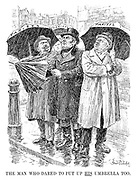 The Man Who Dared to Put Up HIS Umbrella Too. (John Bull puts up his Tariffs umbrella to protect him from the economic downpour, alongside Germany and France)