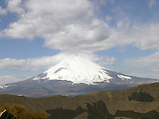 View of a snow capped Mount Fuji seen from Hakone Park Japan