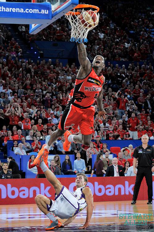 Sport<br /> Stewart Allen<br /> The Sunday Times<br /> Wildcat James Ennis slam dunks in a match against the Sydney Kings.