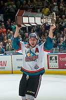KELOWNA, CANADA - MAY 13: Tyson Baillie #24 of Kelowna Rockets skates with the WHL Championship trophy on May 13, 2015 during game 4 of the WHL final series at Prospera Place in Kelowna, British Columbia, Canada.  (Photo by Marissa Baecker/Shoot the Breeze)  *** Local Caption *** Tyson Baillie;
