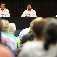 Three of the four candidates running for Lee County Supervisor District 1, Marty Rock, Dan Gale and Phil Morgan, address questions asked by the public during a Town Hall event Monday night at the Link Centre in Tupelo.