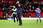 AFC Wimbledon manager Neal Ardley applauding fans during the The FA Cup 3rd round match between Tottenham Hotspur and AFC Wimbledon at Wembley Stadium, London, England on 7 January 2018. Photo by Matthew Redman.