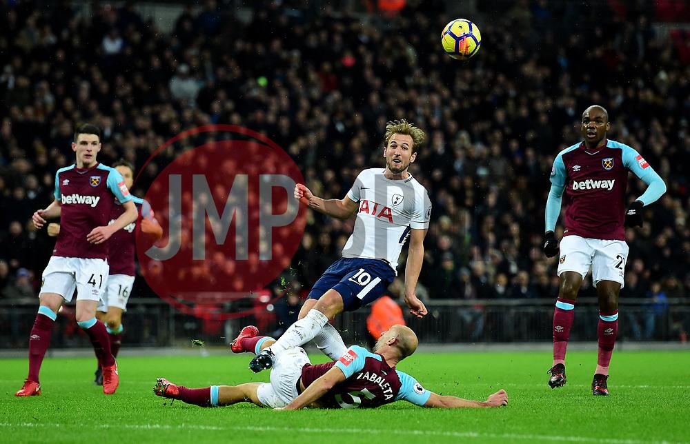 Harry Kane of Tottenham Hotspur shot is blocked by Pablo Zabaleta of West Ham United - Mandatory by-line: Alex James/JMP - 04/01/2018 - FOOTBALL - Wembley Stadium - London, England - Tottenham Hotspur v West Ham United - Premier League