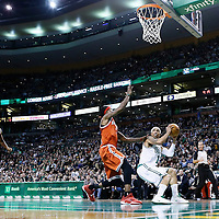 21 December 2012: Boston Celtics shooting guard Courtney Lee (11) fakes Milwaukee Bucks shooting guard Marquis Daniels (6) during the Milwaukee Bucks 99-94 overtime victory over the Boston Celtics at the TD Garden, Boston, Massachusetts, USA.