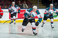 KELOWNA, CANADA - MARCH 3: Ted Brennan #10 of the Kelowna Rockets skates against the Portland Winterhawks on March 3, 2019 at Prospera Place in Kelowna, British Columbia, Canada.  (Photo by Marissa Baecker/Shoot the Breeze)