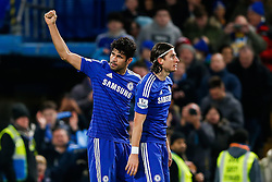 Diego Costa of Chelsea celebrates scoring a goal to make it 2-0 - Photo mandatory by-line: Rogan Thomson/JMP - 07966 386802 - 13/12/2014 - SPORT - FOOTBALL - London, England - Stamford Bridge - Chelsea v Hull City - Barclays Premier League.