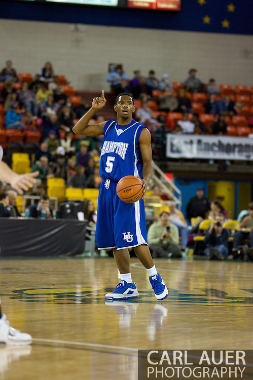 November 26, 2008: Hampton guard Brandon Tunnell (5) in the opening game of the 2008 Great Alaska Shootout at the Sullivan Arena against the University of Alaska-Anchorage Seawolves.