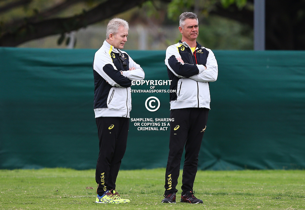 DURBAN, SOUTH AFRICA Monday 10 August<br /> Ian Schwartz(Team Manager) of South Africa with Heyneke Meyer (Head Coach) of South Africa during the South African team training at People&rsquo;s Park, Moses Mabhida Stadium  Durban, South Africa. (Photo by Steve Haag)