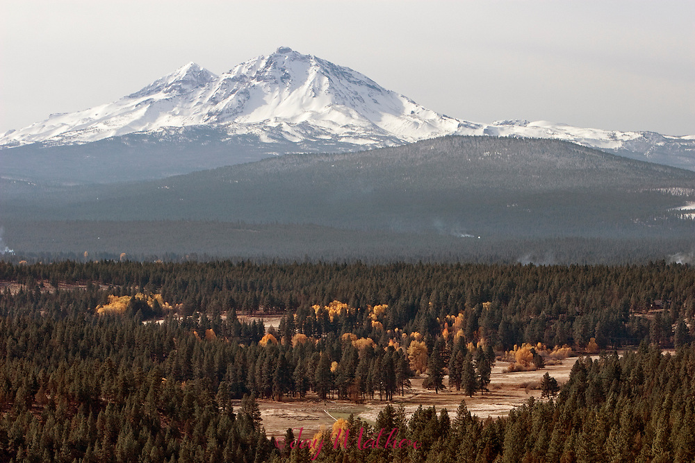 Fall colors in central Oregon.  Camp Polk meadow wqith North and Middle Sister, vine maples over Lake Creek in the Metolius Preserve and aspens along Whychus Canyon.