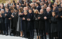 Prime Minister of Israel, Benyamin Netanyahou, Prime Minister of Canada Justin Trudeau, Morocco's King Mohammed VI and his son, first lady Melania Trump, U.S. President Donald Trump, German Chancellor Angela Merkel, Emmanuel Macron and Brigitte Macron, Russian President Vladimir Putin and Australian Governor-General Peter Cosgrove.<br /> French President Emmanuel Macron and Brigitte Macron, German Chancellor Angela Merkel, U.S. President Donald Trump, first lady Melania Trump, Morocco's King Mohammed VI, Russian President Vladimir Putin, Australian Governor-General Peter Cosgrove attend a commemoration ceremony for Armistice Day, 100 years after the end of the First World War at the Arc de Triomphe.<br /> Paris,FRANCE-11/11/2018 Photo by Jacques Witt/pool/ABACAPRESS.COM