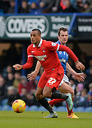 Leyton Orient Forward Jay Simpson breaks away from Portsmouth midfielder Michael Doyle during the Sky Bet League 2 match between Portsmouth and Leyton Orient at Fratton Park, Portsmouth, England on 6 February 2016. Photo by Adam Rivers.