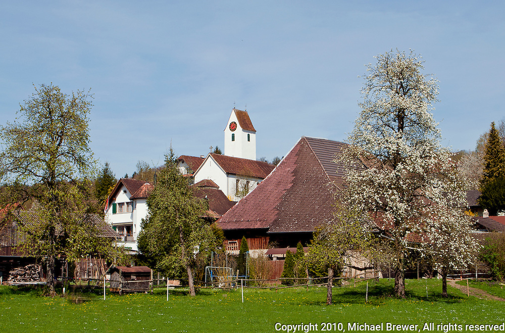 The small, picturesque village of Eggenwil, Aargau, Switzerland in spring.