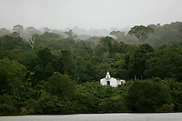 20-05-2006 Tapajos, Brazil. A small church on the banks of the Tapajos river, a tributary of the Amazon, near Santarem in Brazil.