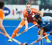 RAIPUR (India) .  Mirco Pruijser (Ned)  tijdens   de wedstrijd om de derde plaats  tussen  de mannen van Nederland en India  in de finaleronde van het  Hockey World League .     COPYRIGHT  KOEN SUYK