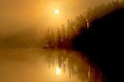 Fog at sunrise on Isabel Lake<br />Kenora<br />Ontario<br />Canada