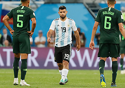 June 26, 2018 - Saint Petersburg, Russia - Sergio Aguero (C) of Argentina national team during the 2018 FIFA World Cup Russia group D match between Nigeria and Argentina on June 26, 2018 at Saint Petersburg Stadium in Saint Petersburg, Russia. (Credit Image: © Mike Kireev/NurPhoto via ZUMA Press)