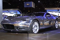 06 February 2005: The Shelby GR-1 concept establishes itself as one of the most contemporary and dramatic front-engine, two-seat, fastback supercars. This running prototype impresses with a 605-horsepower, 390-cubic-inch all-aluminum V-10 engine, a road-tested version of the Ford GT suspension and a stunning new polished-aluminum body.<br /> <br /> GR-1 combines modern sculptured surfaces and a muscular fastback design into a car that could succeed the Ford GT once its production cycle concludes. All of the sophisticated mechanicals of this extraordinary coupe are wrapped in a sleek, muscular aluminum skin left bare and polished bright. The result is a forward-looking supercar with attention-grabbing Ford presence and Carroll Shelby inspiration.<br /> <br /> First staged in 1901, the Chicago Auto Show is the largest auto show in North America and has been held more times than any other auto exposition on the continent.  It has been  presented by the Chicago Automobile Trade Association (CATA) since 1935.  It is held at McCormick Place, Chicago Illinois