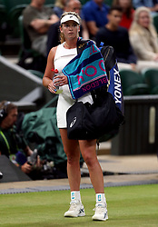 Coco Vandeweghe appears dejected after losing to Magdalena Rybarikova on day eight of the Wimbledon Championships at The All England Lawn Tennis and Croquet Club, Wimbledon.