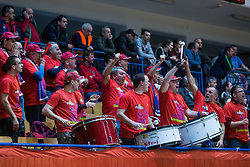 Fans of KK Tajfun Sencur during basketball match between KK Sencur  GGD and KK Tajfun Sentjur for Spar cup 2016, on 16th of February , 2016 in Sencur, Sencur Sports hall, Slovenia. Photo by Grega Valancic / Sportida.com