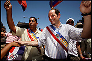 Bronx, New York, USA, 20060716: New York State Attorney Eliot Spitzer march in the Dominican Day Parade on Grand Concourse in the Bronx. Spitzer is a 2006 candidate for Governor of New York State. Photo: Orjan F. Ellingvag/ Dagens Naringsliv/ Corbis