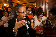 Expat Democrats celebrate as Barack Obama is declared Presidential winner by CNN during overnight election party in London