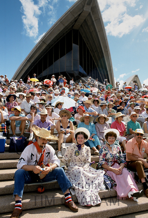 Crowd in Gold Rush costumes for celebrations at Sydney Opera House for Australia's Bicentenary,1988