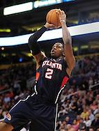 Feb. 23, 2011; Phoenix, AZ, USA; Atlanta Hawks guard Joe Johnson (2) puts up a shot against the Phoenix Suns at the US Airways Center. Mandatory Credit: Jennifer Stewart-US PRESSWIRE