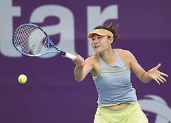 DOHA, Feb. 12, 2018  Duan Yingying of China hits a return during the single's first round match against Ons Jabeur of Tunisia at the 2018 WTA Qatar Open in Doha, Qatar, on Feb. 12, 2018. Duan Yingying won 2-0. (Credit Image: © Nikku/Xinhua via ZUMA Wire)